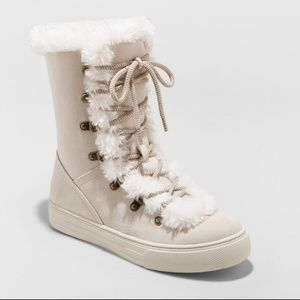 Merona Tira Faux Fur Lace Up Winter Boots